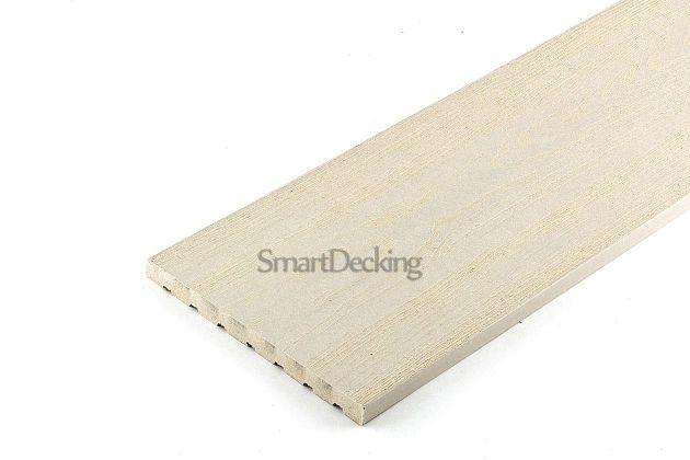 Заборная доска из ДПК Smart вельвет/тиснение слоновая кость